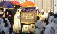 Siklet (Good Friday) celebrated outside Ba'ata Church in Addis Ababa