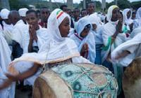 Meskel in Axum, woman with drum