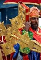 Meskel celebrating in Axum, priest in procession