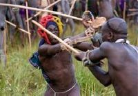 Stick fighting by Suri men in south-west Ethiopia